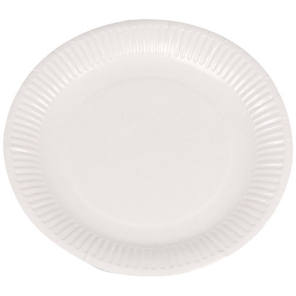 Assiette carton plastifiée blanche Ø 23 cm