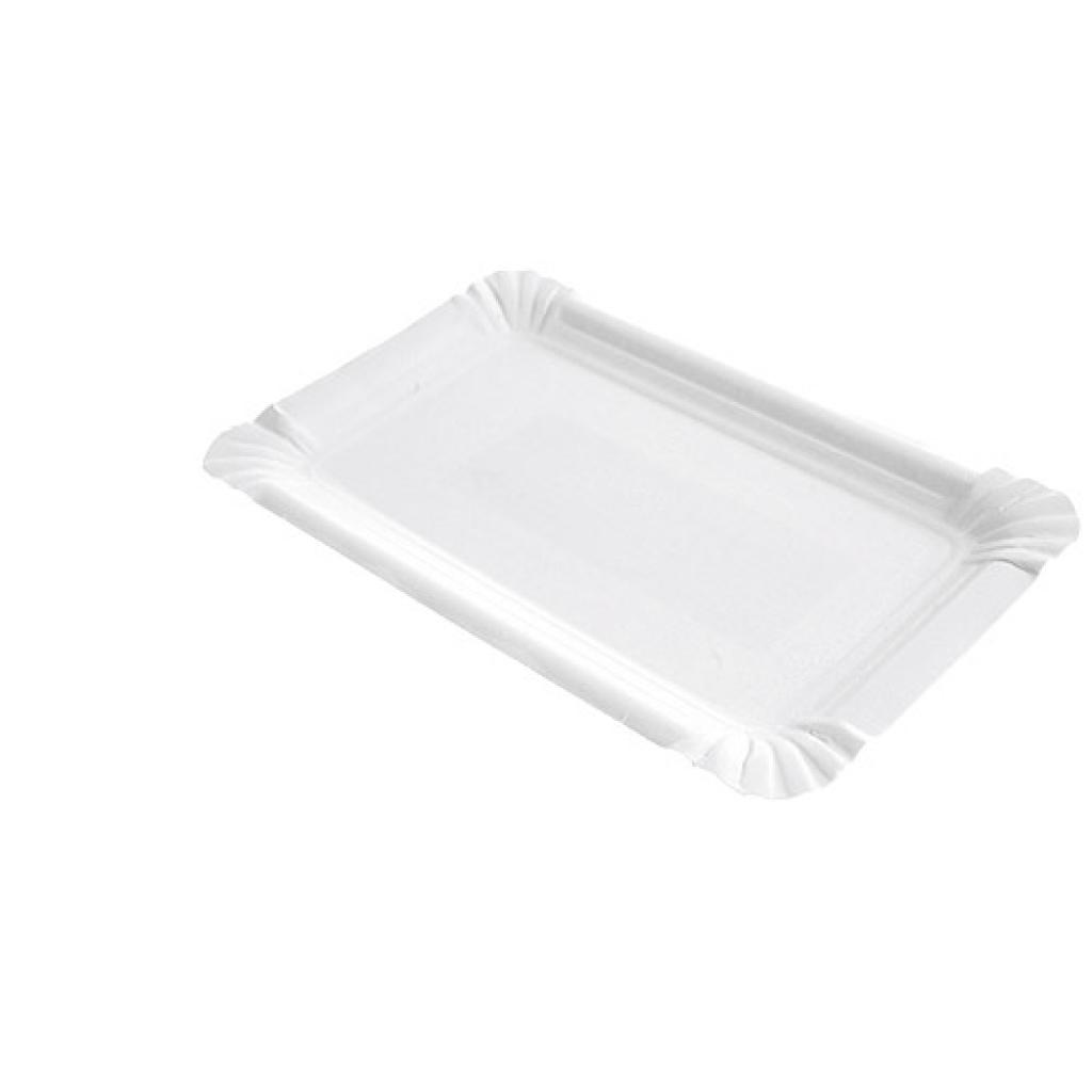 Assiette en carton rectangle blanche 10x16 cm 2