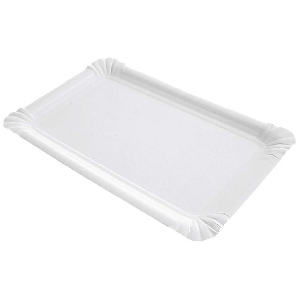 White rectangular paper plate 13x20 cm