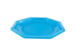 Octagonal turquoise PS plastic plate Ø 24 cm
