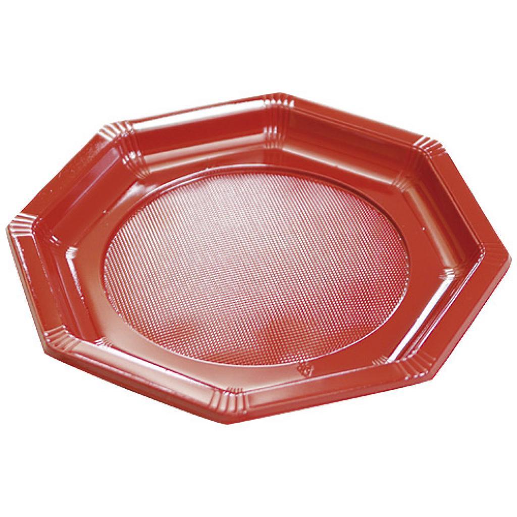 Octagonal burgundy PS plastic plate Ø 24 cm