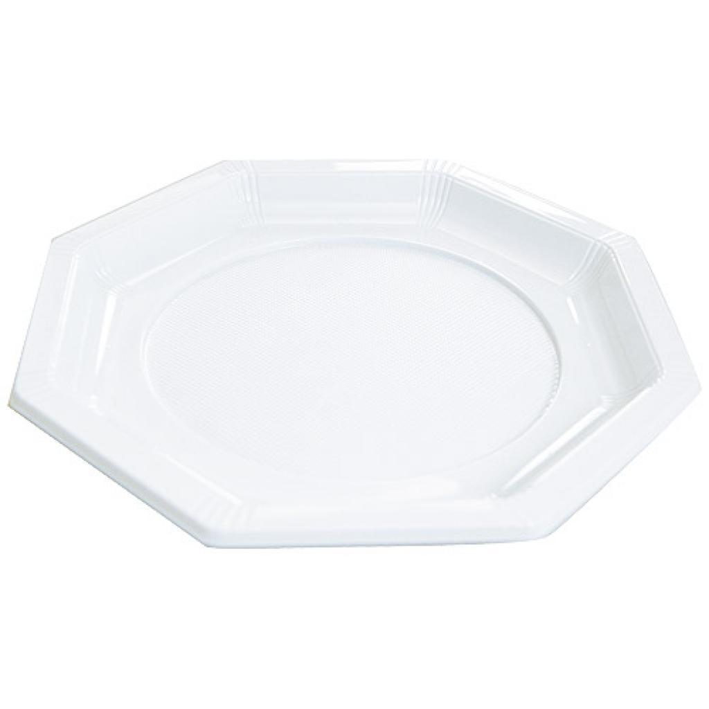 White octagonal PS plastic plate Ø 18.5 cm