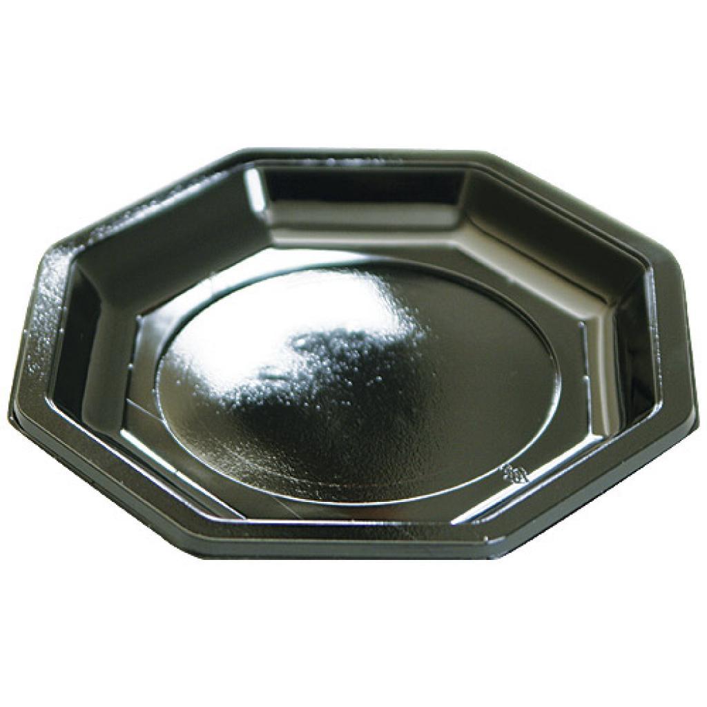 Octagonal black PS plastic plate Ø 18.5 cm