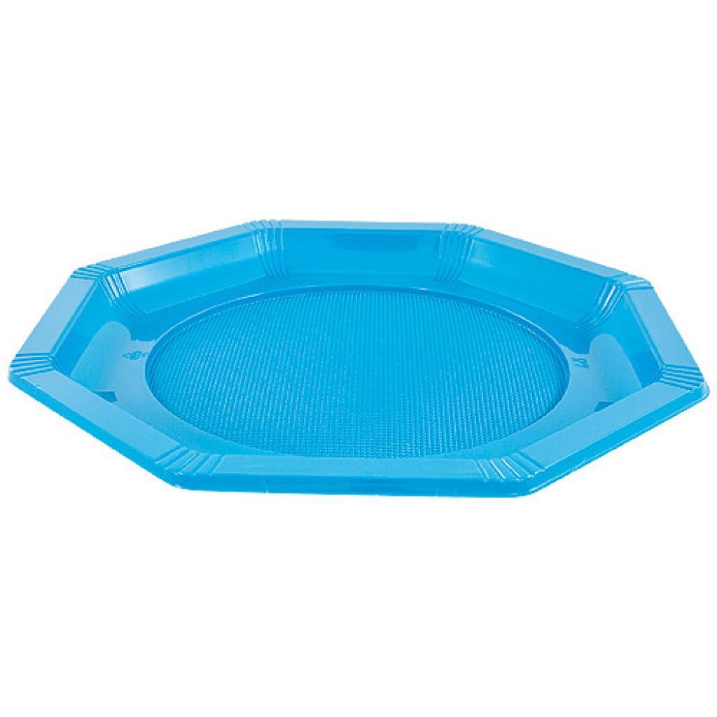 Octagonal turquoise PS plastic plate Ø 18.5 cm