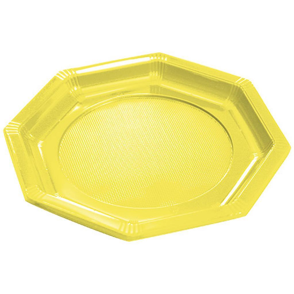 Octagonal yellow PS plastic plate Ø 18.5 cm