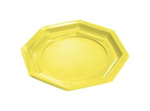 Octagonal yellow PS plastic plate Ø 18.5 cm