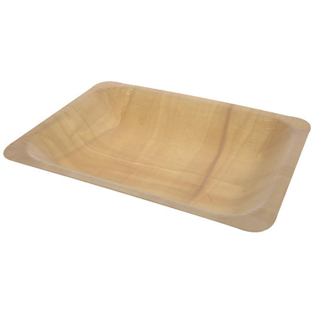 Assiette bois rectangle 195x140x30 mm