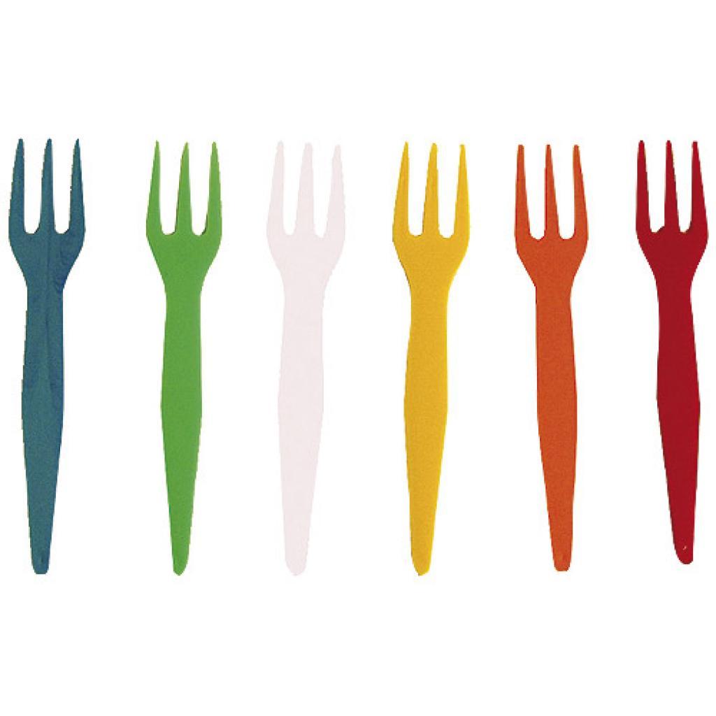 Multi-coloured PS plastic mini-forks