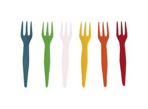 Multi-coloured PS plastic mini-forks