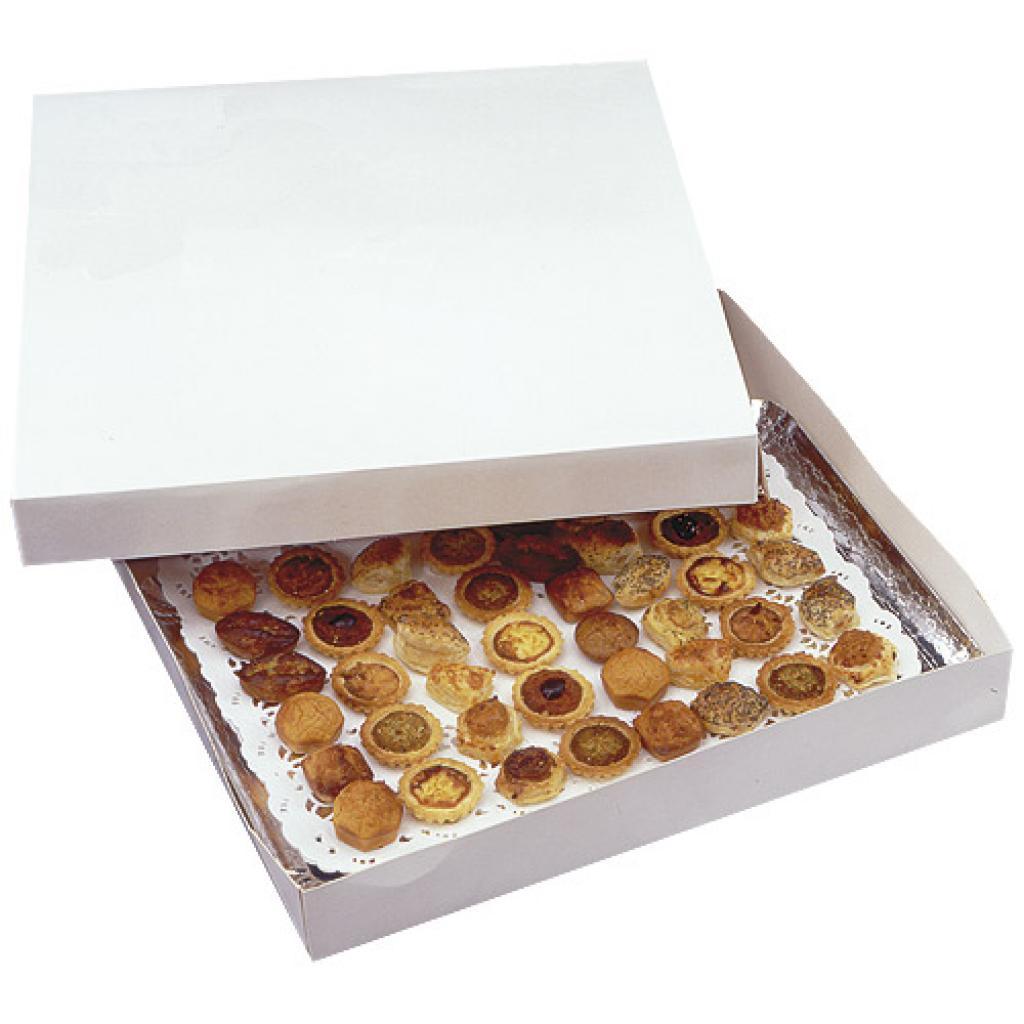 Boite traiteur carton blanc 42x28x6 cm 2