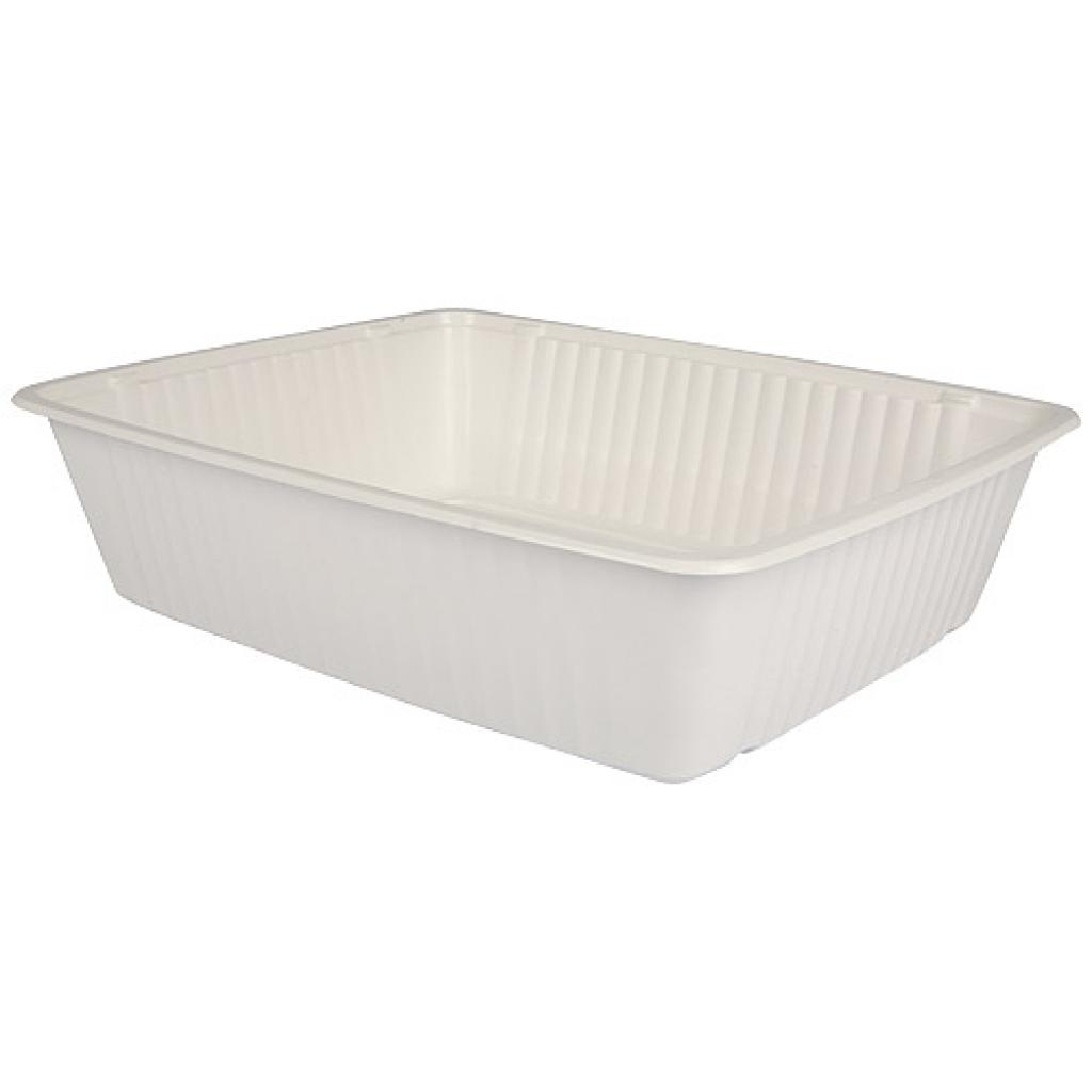 White 1/2 GN thermoformed PP container, 80mm depth