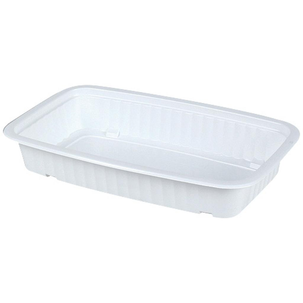 White 1/4 GN thermoformed PP container, 58mm depth
