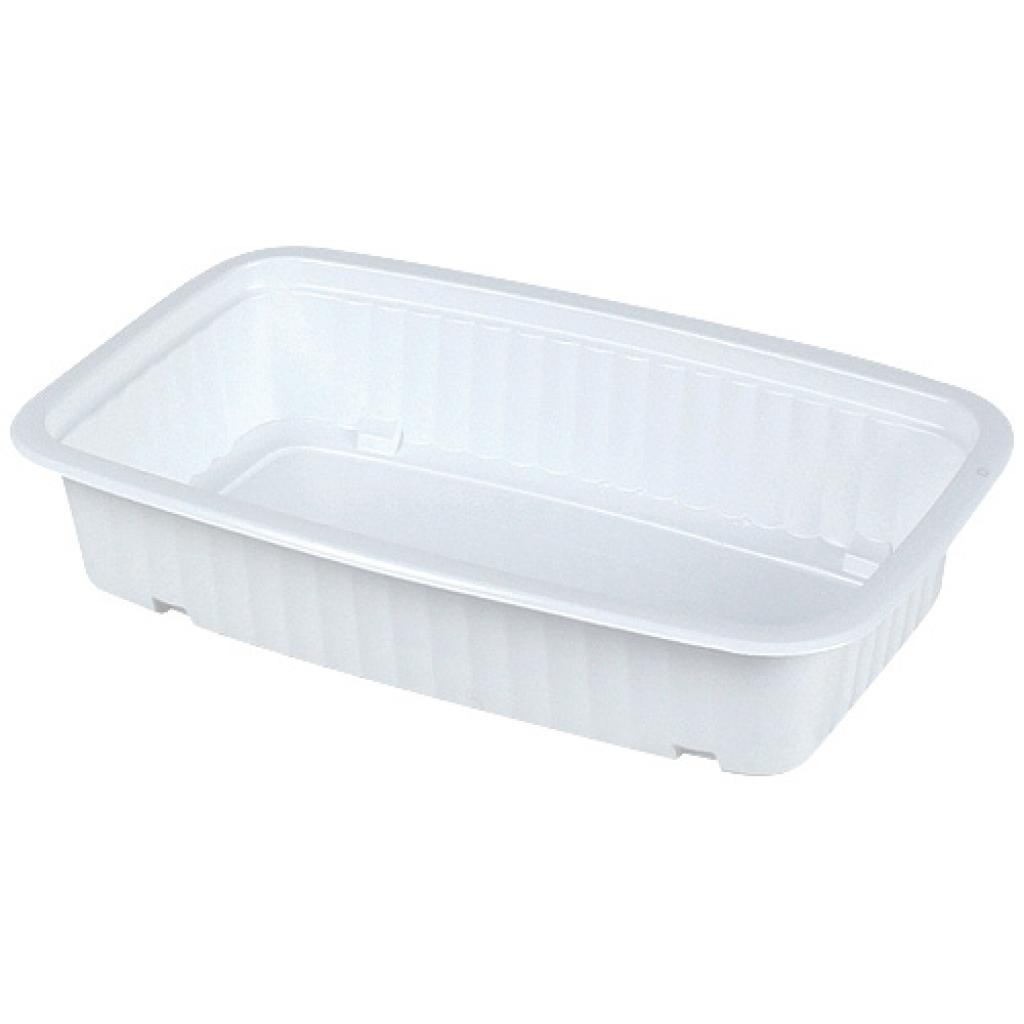 White 1/4 GN thermoformed PP container, 75mm depth