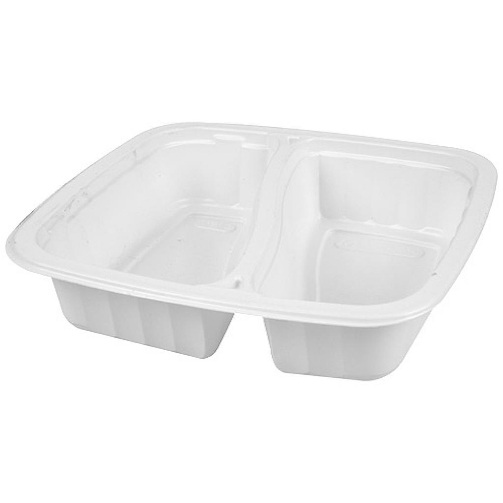 2-compartment white 1/6 GN container