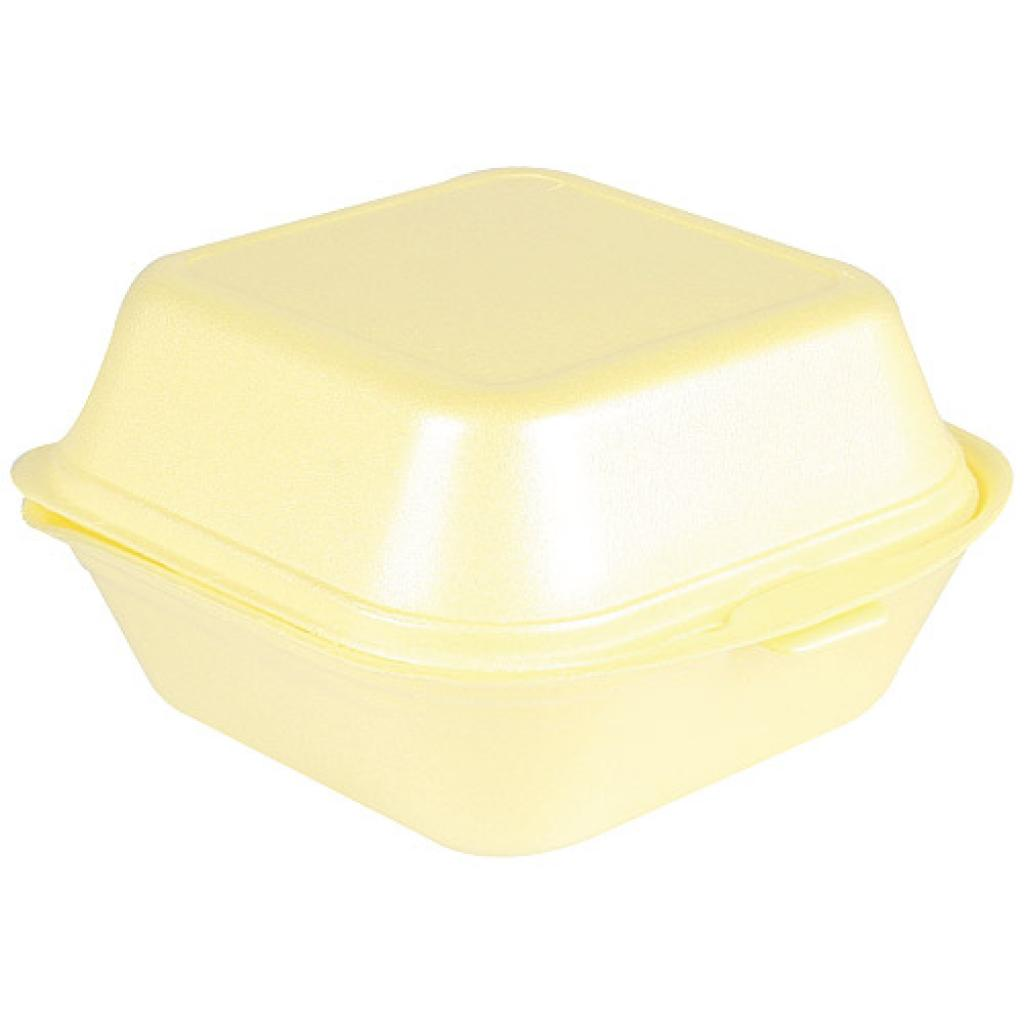 Yellow PSE hamburger box 120x120x74 mm
