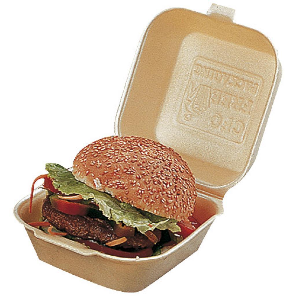 Gold-coloured PSE hamburger box 120x120x74 mm