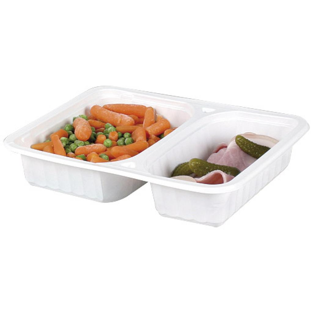 White PP 2-compartment tray 227x177x35 mm
