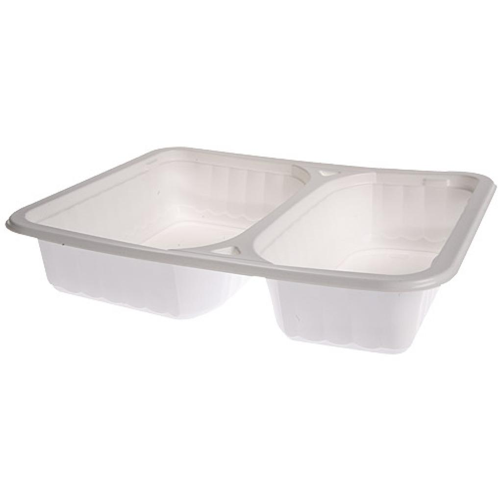 White PP 2-compartment tray 227x177x45 mm