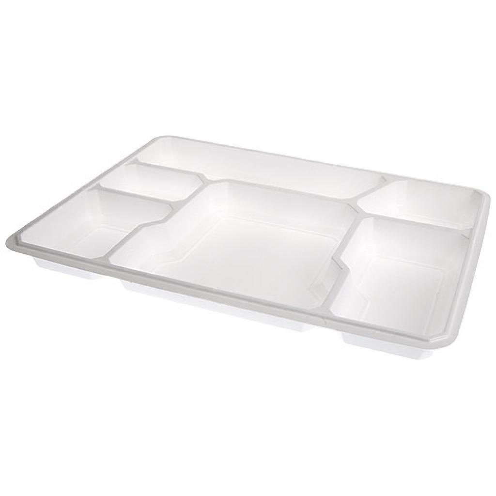 White PS 6-compartment tray 371x271x34 mm 2