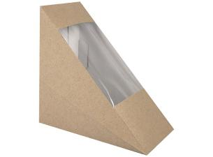 Triangular brown with window sandwich box 123x52x123 mm